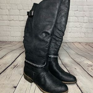 Fashion Boots! Black flocked faux suede. Size 9.5